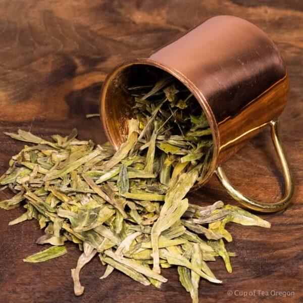 DragonWell loose tea in cup