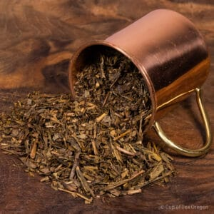 Hojicha loose tea in cup
