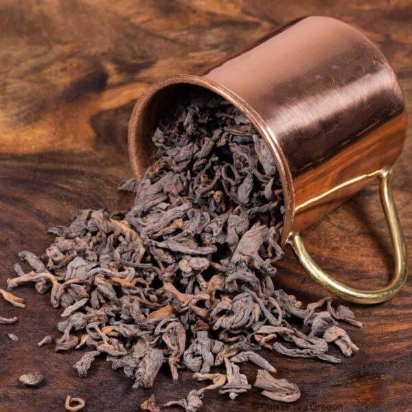 House pu erh loose tea in cup