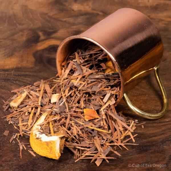 Lapacho Orange Vanilla loose tea in cup