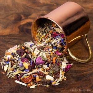 Reiki loose tea in cup