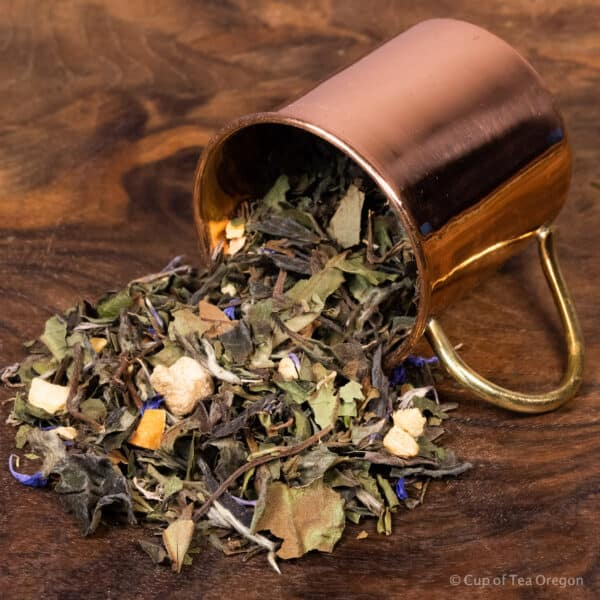 mango ginger loose tea in cup