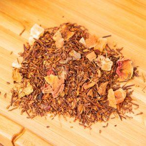 Apple Pie loose-leaf, herbal tea blend: Rooibos, candied pineapple, candied papaya, apple, orange peels, cinnamon, rose buds, rose petals