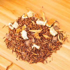 Chocolate Orange loose-leaf, herbal tea blend: Rooibos, orange peel, chocolate, orange petals