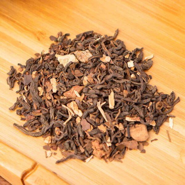 Dancing Dragon loose-leaf tea blend: Pu-erh, sarsaparilla, roasted yerba mate, honeybush
