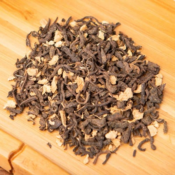 Ginger Stardust loose-leaf tea blend: Shou Chinese pu-erh, ginger