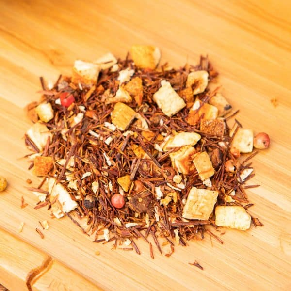 Guava Chili loose-leaf, herbal tea blend: Rooibos, orange peels, coconut rasps, cinnamon, rose, pepper, chili pieces