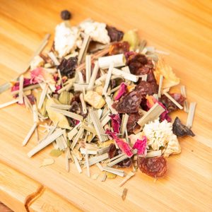 Hunger Games loose-leaf, fasting tea blend: Green Mate, lemongrass, rosehip peel, ginger pieces, black peppercorn, cardamom, basil, petals, roman chamomile