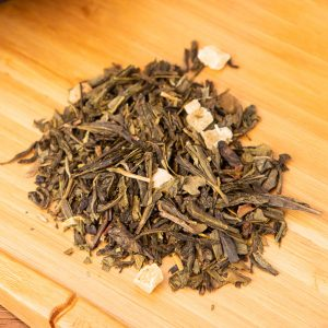 Immuni-Tea loose-leaf, wellness tea blend: Sencha, gunpowder, Mini Tui, Chun Mee, white tea, Lung Ching, snow bud, Pi Le Chun, candied pineapple pieces, strawberry, sunflower petals