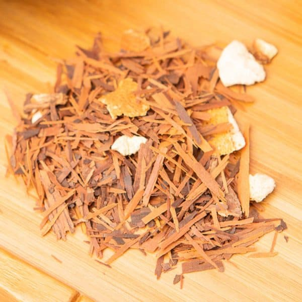 Lapacho Orange Vanilla loose-leaf, herbal tea blend: Lapacho bark, orange slices, orange peels