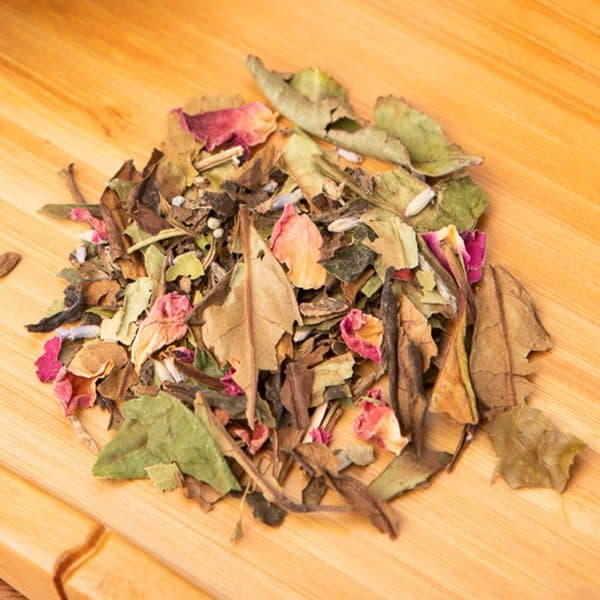 Lavender Rose loose-leaf, white tea blend: White Peony, rose, lavender, lemon balm, lemon myrtle