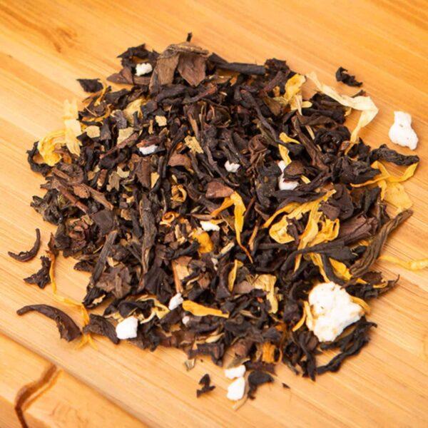 Lemon Basil loose-leaf, oolong tea blend: Oolong, basil, lemon granules, lemon oil, sodium alginate (from seaweed), marigold blossoms