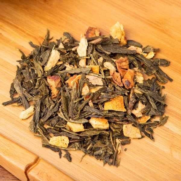 Lemon Ginger loose-leaf, green tea blend: Sencha, apple pieces, ginger, orange peels, lemon peels