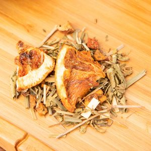 Lemon Tart loose-leaf, herbal tea blend: Apple, lemongrass, green rooibos, orange, vervain, vanilla pieces, natural flavor