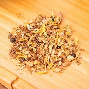 Night In Tu-tea-sia loose-leaf, herbal tea blend: Ginger, cinnamon, licorice, black pepper, cardamom, rose petals, calendula