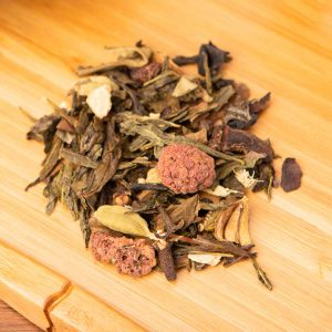 Obecalp loose-leaf, wellness tea blend: Mu Tan white, fog green, Lung Ching Gunpowder, Jasmine, Jade Pearls, ginger pieces, star anise, flavor, cardamom, raspberries, clover, black pepper