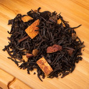 Spicy Orange loose-leaf, black tea blend: Black tea, orange peel, cinnamon, peach, cloves