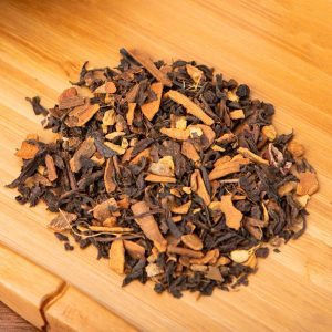 Parker's Chai loose-leaf, oolong tea blend: Oolong, cinnamon bark, ginger root, cardamom, chicory, cocoa nibs, natural cinnamon  flavor, black peppercorn, cloves
