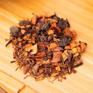 Plum Fairy loose-leaf, herbal tea blend: Apple, hibiscus, raisins, rooibos, rosehip peels, cinnamon, plum pieces