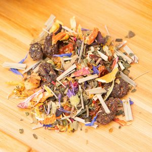 Reiki loose-leaf, wellness tea blend: Golden raisins, apple pieces, candied mango pieces, lemongrass, rosehip peel, hibiscus blossoms, orange peels, carrot shreds, stinging nettle leaves, blackberry, blue cornflower, mallow blossoms, marigold blossoms, tangerine, rose petals, rosebuds, safflower