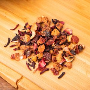 Strawberry Kiwi loose-leaf, herbal tea blend: Apple, hibiscus petals, rosehip peels, natural flavor, kiwi pieces, strawberry pieces