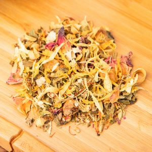 Sunnybrook loose-leaf, herbal tea blend: Candied pineapple, candied mango, apple pieces, fennel, melissa leaves, silver linden tree blossoms, rose petals, safflower, natural flavoring, marigold blossoms, orange blossoms