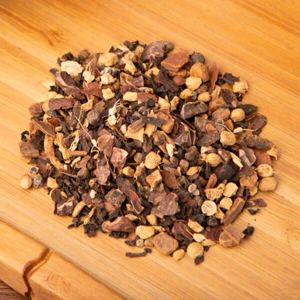 Tea-Juana Chai loose-leaf, black tea blend: Black tea, cocoa, cardamom, cinnamon, coriander, black pepper, ginger