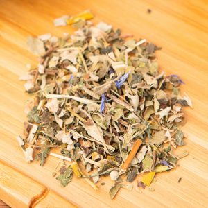 Teas R Us Kids loose-leaf, wellness tea blend: Nettle leaves, blackberry leaves, vervain, mistletoe, St. John's wart, ginkgo leaves, lemongrass, Sencha, whitehorn leaves, willow herb, cornflower petals, safflower petals