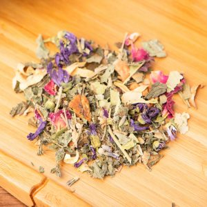 Tuscan Dreams loose-leaf, sleepy-time tea blend: Apple, silver linden tree blossoms, Melissa leaves, lavender blossoms, rose petals, sweet blackberry leaves, orange blossoms, mallow blossoms