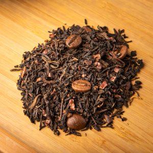 Comfort Zone loose-leaf pu-erh tea blend: Coffee beans, pu-erh, black tea, cocoa nibs