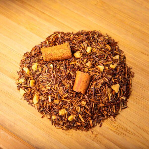 Horchata loose-leaf herbal tea: Rooibos, almond pieces, cinnamon rods