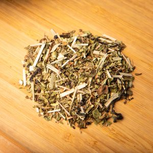 Mountain Mint loose-leaf herbal tea: Peppermint, spearmint, lemongrass, blueberry leaves