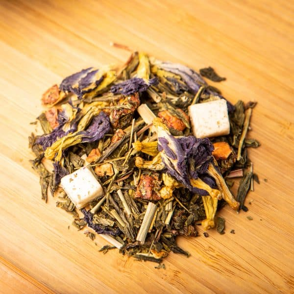 Purple Rain loose-leaf tea blend: Green tea, apple, purple dragon fruit, lemongrass, butterfly pea blossoms, pomelo, lemon peels, watermelon flakes