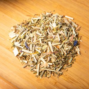 Allergy Re-leaf loose-leaf wellness tea: Lemongrass, lime tree blossoms, spearmint, peppermint, marigold petals, cornflower petals, green rooibos, lavender