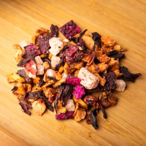 So Fetch loose-leaf herbal tea: Pineapple cubes, apple, purple dragon fruit, hibiscus, strawberry yogurt pieces (contains dairy), strawberry
