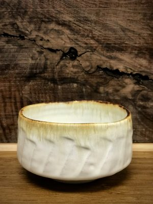 White matcha bowl. (It looks like a toasted marshmallow.)
