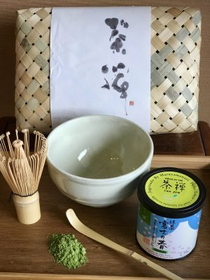 Matcha kit with bowl, scoop, whisk, and 50-gram tin of ceremonial grade matcha.