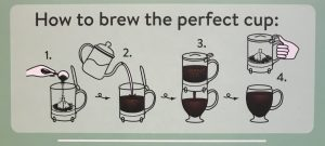 How to steep tea: Fill steeper with hot water up to the handle. Add two teaspoons of tea. Let steep however long tea needs to steep. Put steeper on top of mug and wait about ten seconds for steeper to drain. (To steep tea again, just add more hot water and repeat.)