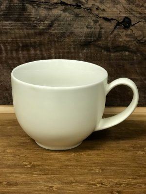 10 ounce, white tea cup, with handle.