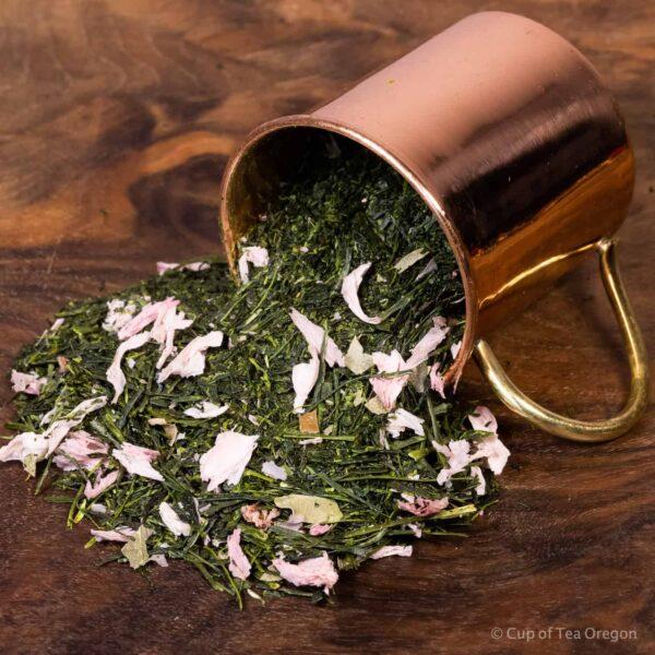 Sakura Sencha loose tea in cup