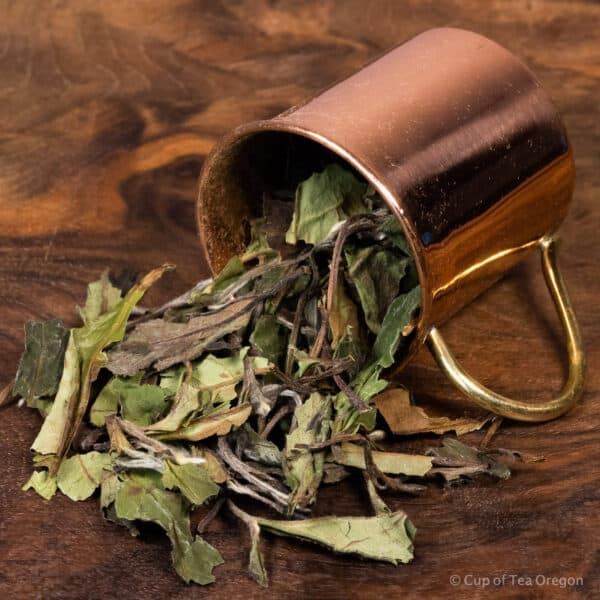 White Peony loose tea in cup