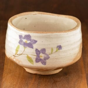 White matcha bowl Bellflower design