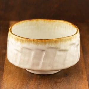 white matcha bowl cliffs design