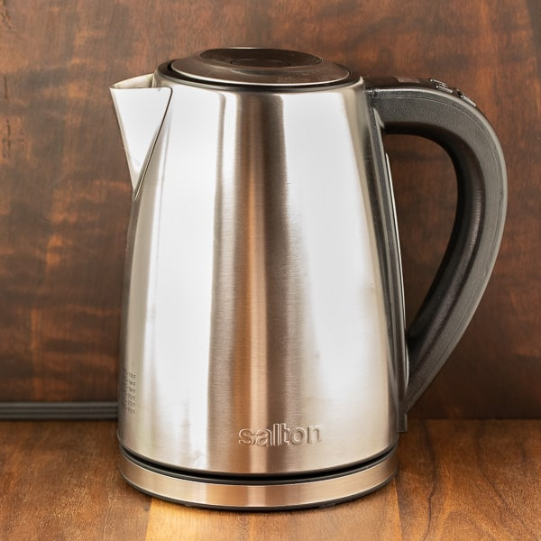 electric kettle liquid warmer reflective grey
