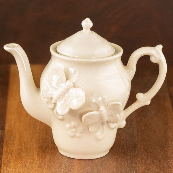 cottage butterfly cream color design teapot