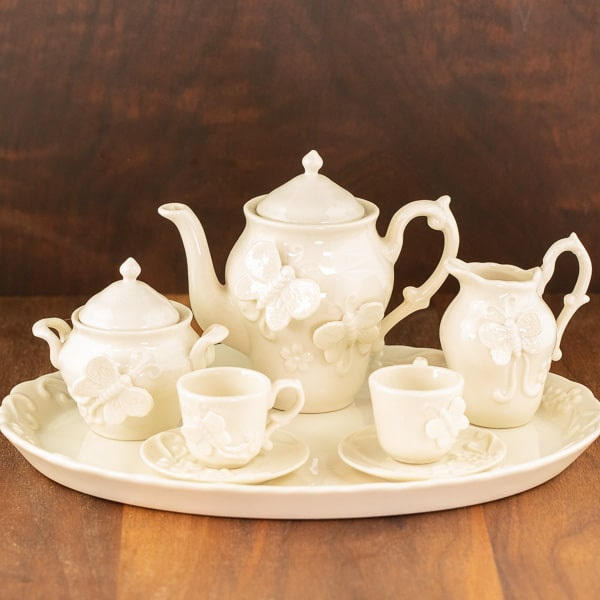 cottage butterfly cream color design tea set