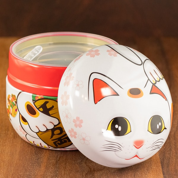 cat white color tin with lid off