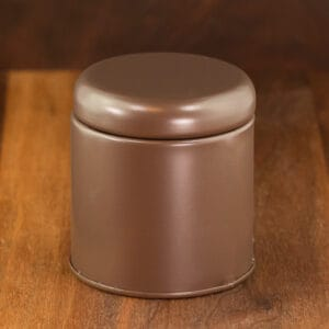 brown color travel tin