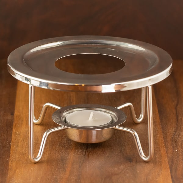 finim candle warmer reflective steel color