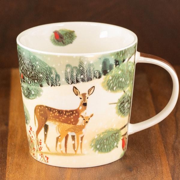cream and green color mug holiday meadows design